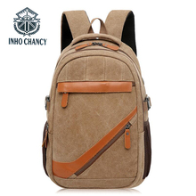 INHO CHANCY Vintage Backpack Men Large Capacity Laptop Bag Fashion Leisure Travel Teenagers School And Women