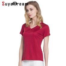 Silk women T shirt 100% Natural silk basic shirt Short sleeve solid V neck top 2019 new white black Bottoming Shirt