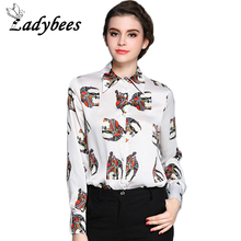 LADYBEES Plus size Women Blouses Elephant Print Shirt Long Sleeve Colorful Polo Tops Office Ladies Shirts 2017 New High Quality