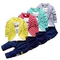 2017 Autumn Spring Boys Formal Clothing Sets Kids Attire For Baby Boy Clothes Plaid Suit Toddler 4 Colors Children's Sets