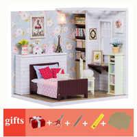 Mini per bambini in legno casa di bambola mobili con le luci fai da te piccolo miniature dollhouse camera da letto casa di bambola giocattoli casa de juguete