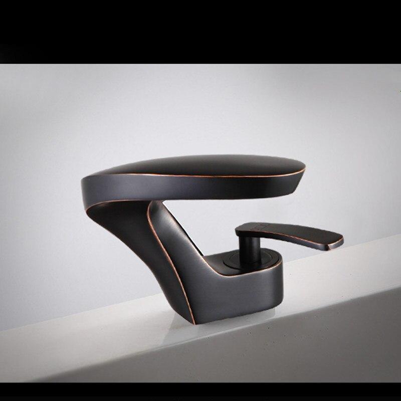 Basin Faucet Dark Bronze/Chrome Curve type Bathroom Basin Mixer Faucet Single Handle/Hole Deck Wash Hot Cold Mixer Taps Torneira