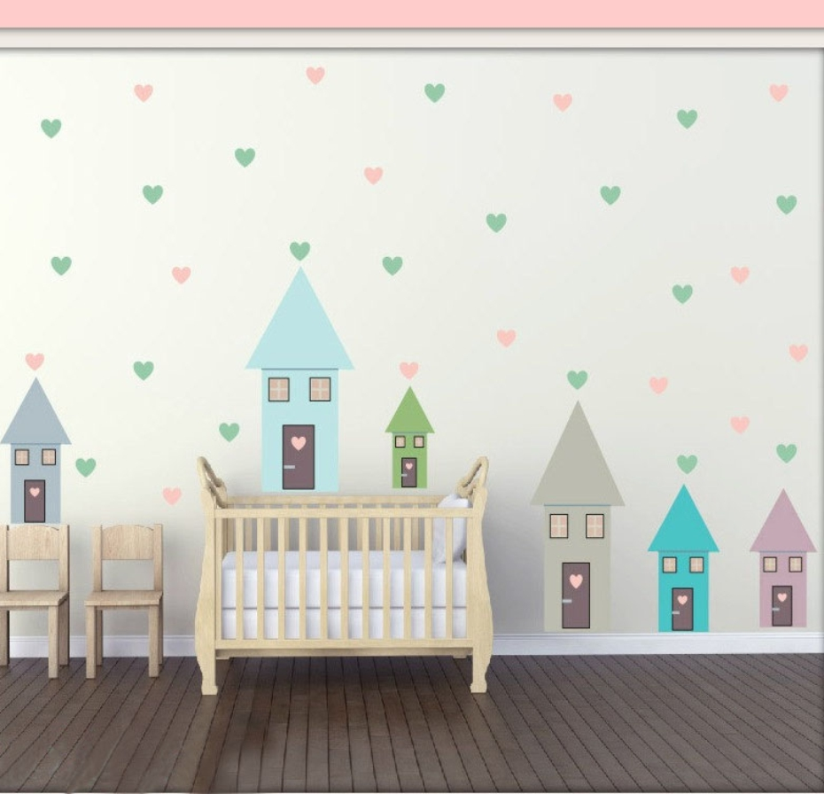 Diy Colorful Rooms: Colorful House Hearts Cartoon Vinyl Wall Stickers For Kids