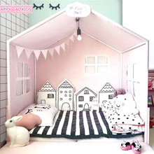 Muslin life Baby Bed Bumper Nordic Style House Shape Design Embroidery Bumper Pad Crib Around Protection Baby Bedding Set