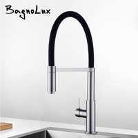 Neu Patent Design 360 Swivel 100% Solide Messing Einzigen Griff Mischer Waschbecken Wasserhahn Pull-Out-Down Küche Wasserhahn In Gebürstet nickel