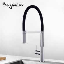 Newly Patent Design 360 Swivel 100% Solid Brass Single Handle Mixer Sink Tap Pull Out Down Kitchen Faucet In Brushed Nickel(China)