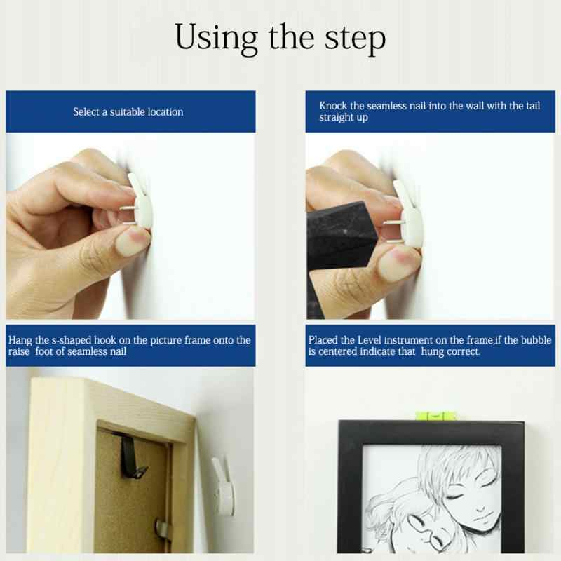 20pcs White Painting Photo Frame Hook Plastic Invisible Wall Mount Photo Picture Nail Hook Hanger
