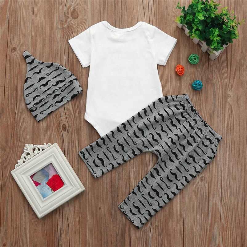 42faf5db0bc 2018Summer New 3Pcs Newborn Baby Boy Romper Letter Tops + Beard Long Pants  Hat Outfits Clothes Children clothes Dropshipping P5-in Clothing Sets from  Mother ...