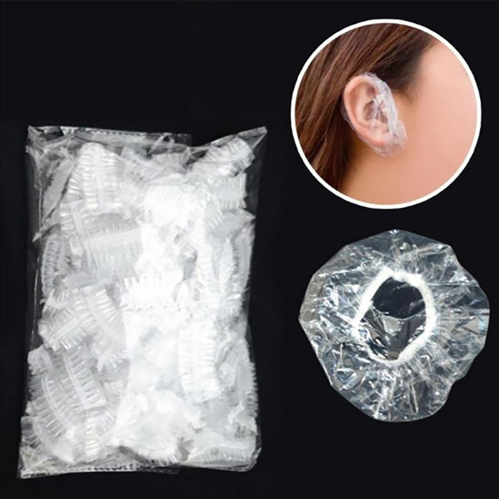 100pcs Disposable Plastic Waterproof Ear Protector Cover Caps Salon Hairdressing Dye Shield Protection Shower Cap Tool AU30