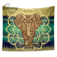 Homing Bohemian Indian Elephant Tapestry Wall Hanging Summer Beach Towel Mandala Colored Printed Tapestry For Living