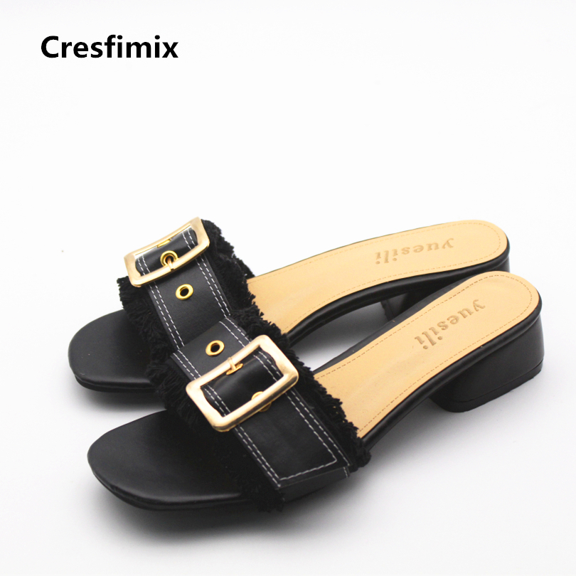 Cresfimix women casual black pu leather slip on slippers lady cute comfortable spring & summer slippers female beach flip flops cresfimix women cute spring