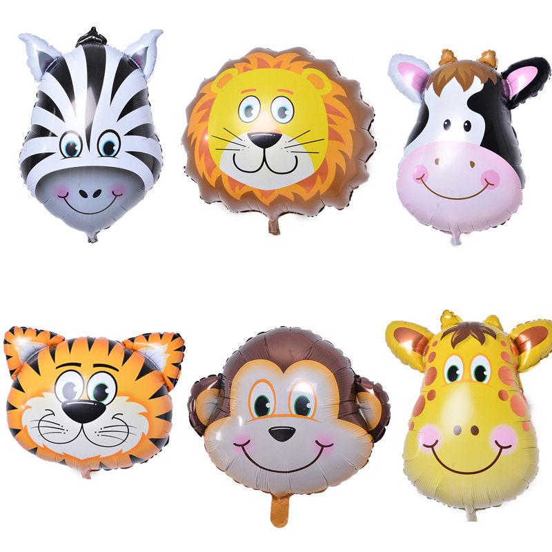 6pcs/lot Mini Animal Head Foil Balloons Inflatable Air balloons Kids Birthday Party Balls Baby Shower Party Decorations supplies