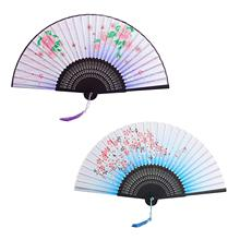 METABLE 2Pcs Folding Fans Handheld Bamboo Silk Fabric Hand Chinese/Japanese Womens Decorative Fan with Tassel for Dancing