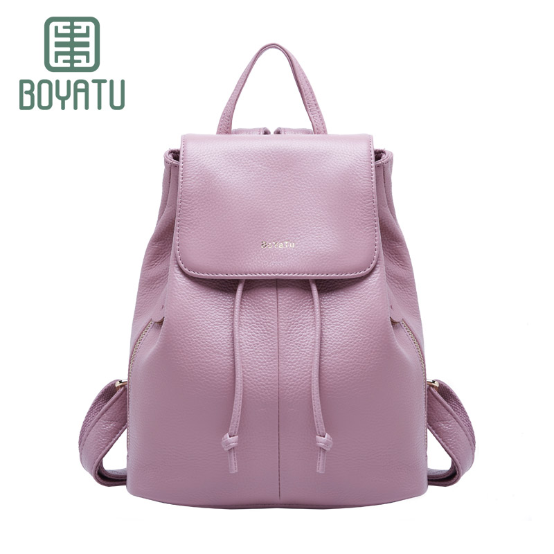 BOYATU Genuine Leather Women Bags Feminine Backpacks Sac A Dos Fashion Luxury Mochila Shoulder Casual Small