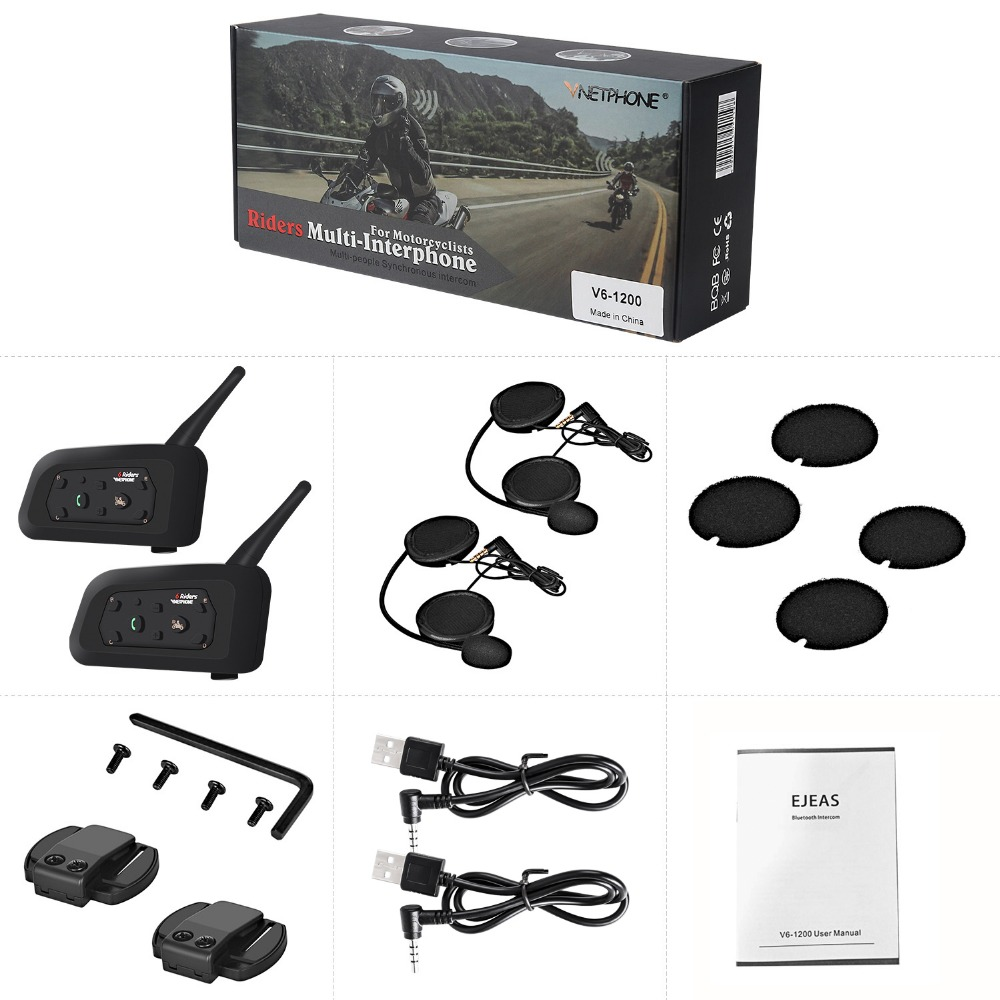 2PCS V6 Motorcycle Bluetooth Helmet Headsets Intercom BT Wireless Intercomunicador Interphone for 6 Riders MP3 Bluetooth Headset2PCS V6 Motorcycle Bluetooth Helmet Headsets Intercom BT Wireless Intercomunicador Interphone for 6 Riders MP3 Bluetooth Headset
