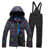 2016new Women Ski Suit Snowboard Skiing Jackets Warm Pants Breathable Windproof Waterproof Womens Skiing Clothing Set