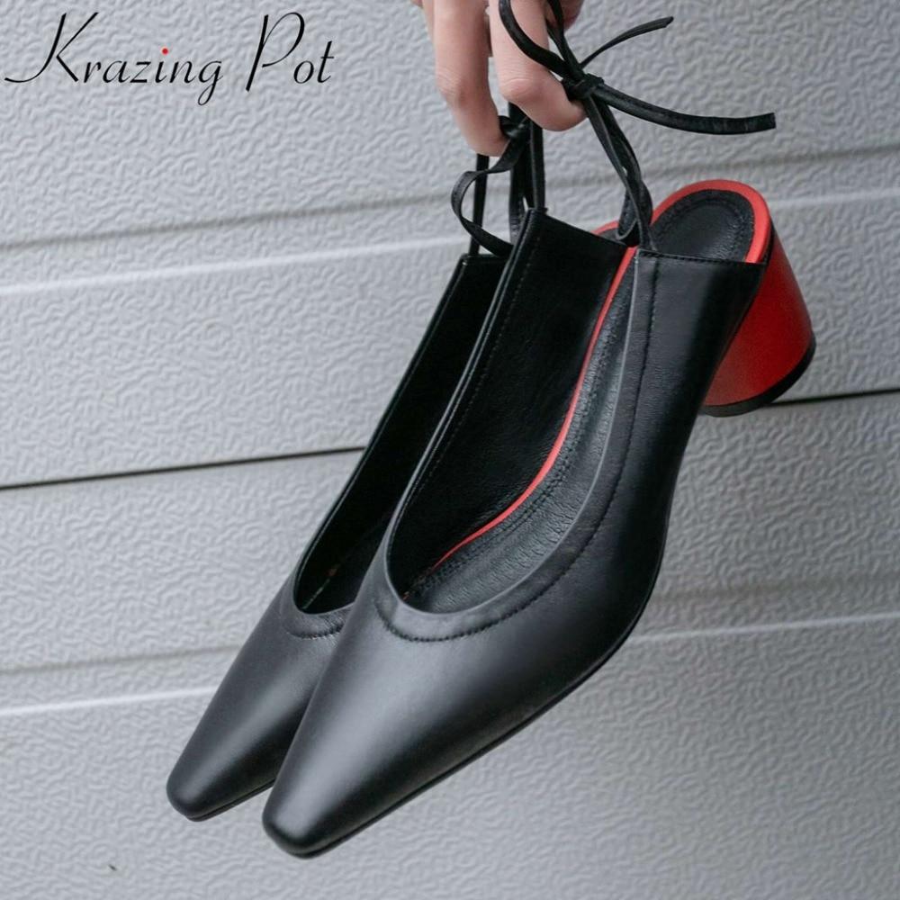 Krazing Pot sweet elegant lady slingback artistic square toe round heels lace up movie star fashion