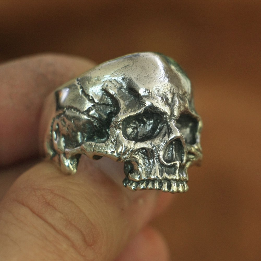 LINSION 925 Sterling Silver Skull Ring Mens Biker Rock Punk Ring TA135 US Size 7 to