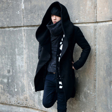 Autumn winter men long trench coat korean style hooded cloak mens slim