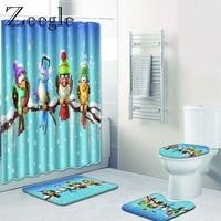 Zeegle 3D Printed Bath Mat Pedestal Rug with Shower Curtain 4PCS Toilet Lid Cover Mat Memory Foam Absorbent Bathroom Carpet