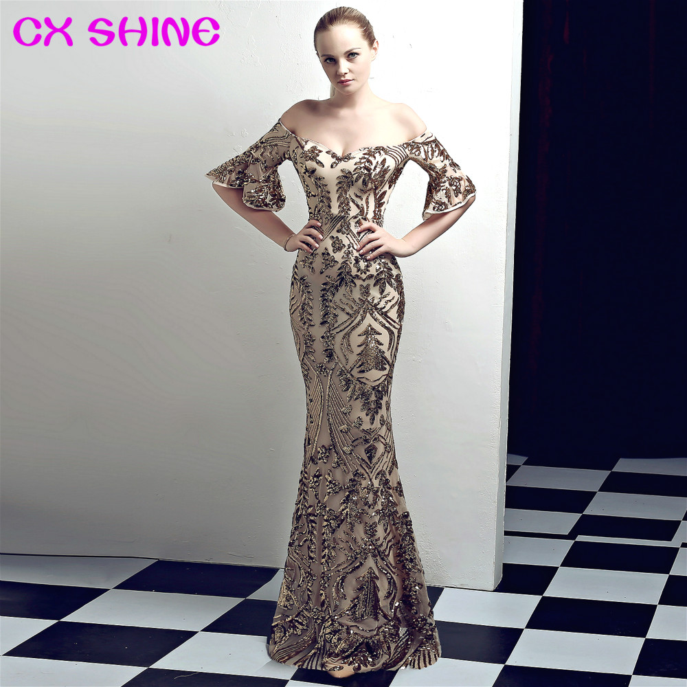long formal evening dresses CX SHINE sequin trumpet sleeves sexy mermaid Retro prom party dress elasticity