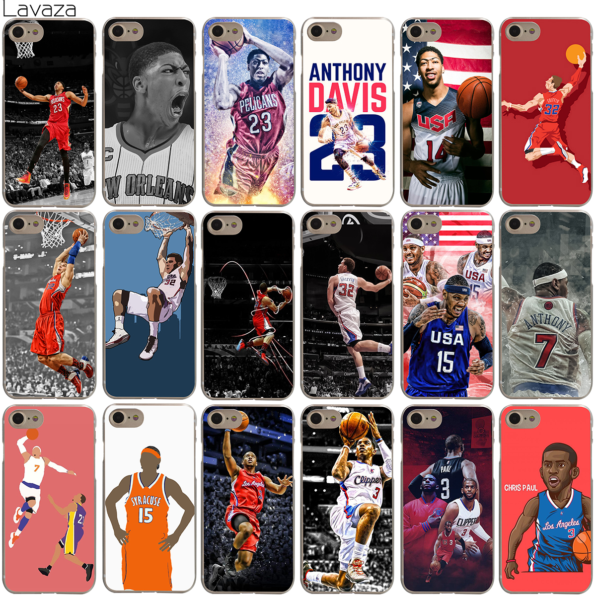 Lavaza Anthony Davis Blake Carmelo Anthony Chris Paul Case for iPhone 4 4S 5 5S SE 6 6S 7 8 X Plus