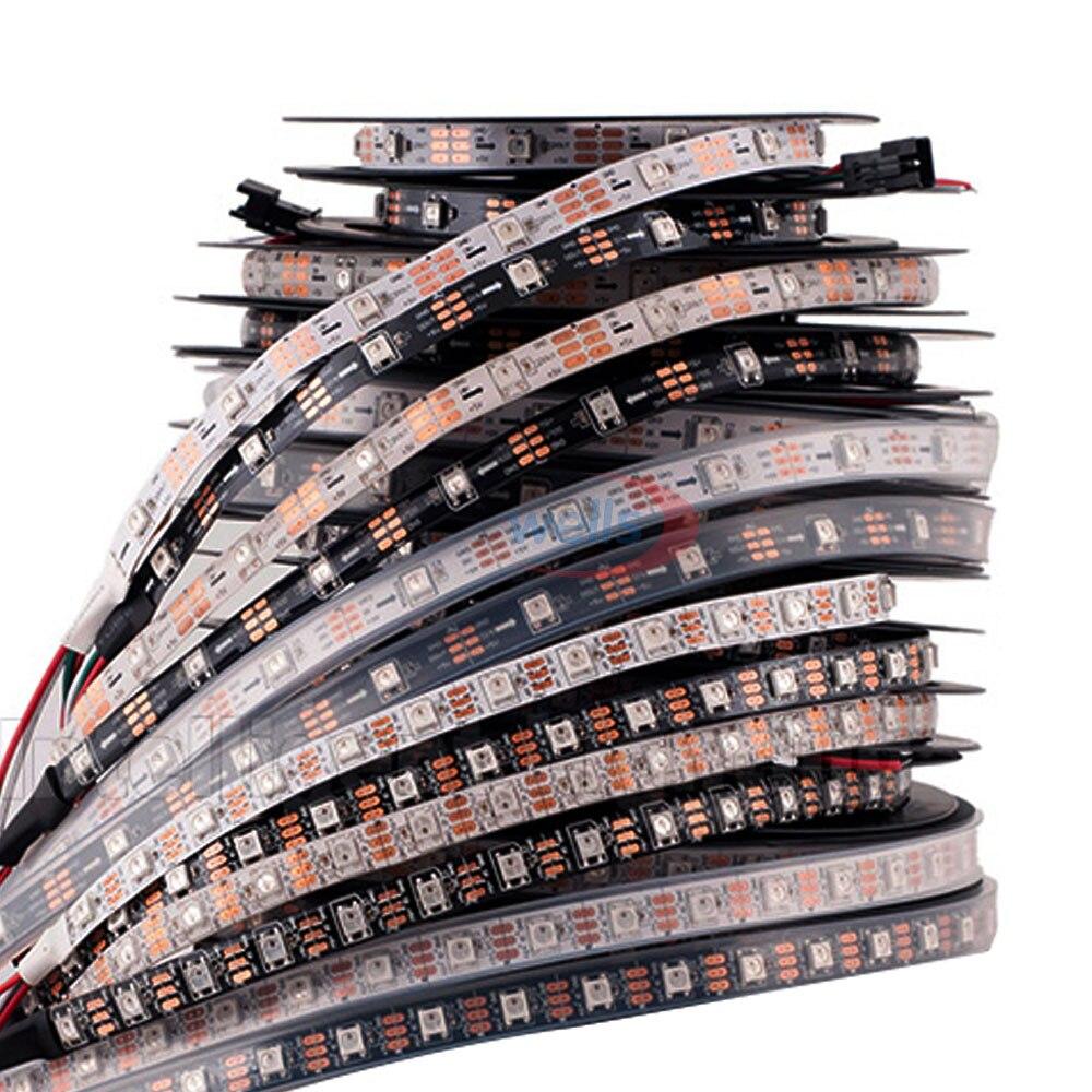 DC5V tira de LED WS2812B 30/60 píxeles/leds/m 5 M IP30 IP65 IP67 negro/blanca PCB dirección inteligente WS2812 IC WS2812 tira de luz LED