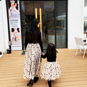 2019 Spring Kid Start Lace Dresses Ball Down Mesh Dresses for Mom & Me Princess full sleeve t-shirt patchworked lace dres black 1