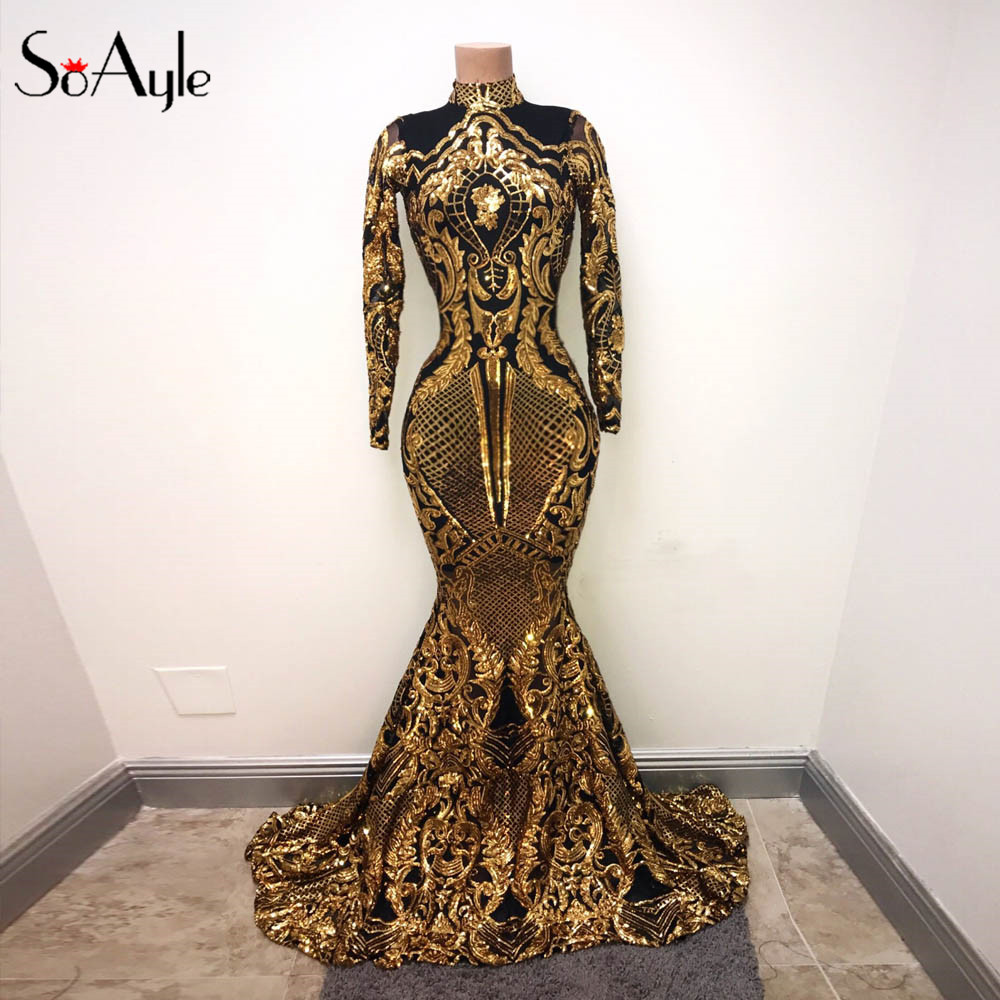 SoAyle Luxurious Mermaid Prom Dresses Long Sleeves Dubai Sequined ...