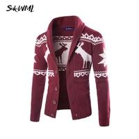 SUKIWML 2017 Fashion Brand Men's Sweater Christmas Deer Mens Cardigan Sweater Warm Knited Male Sweatercoat Plus Asian Size M 2XL