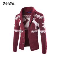 SUKIWML 2017 Fashion Brand Men's Sweater Christmas Deer Mens Cardigan Sweater Warm Knited Male Sweatercoat Plus Asian Size M 2XL