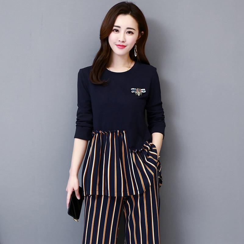 M-5xl Dark Blue Autumn Striped Patchwork Two Piece Sets Women Plus Size Long Sleeve Tops And Wide Leg Pants Office Elegant Suits 28