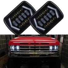 7×6 дюймов Halo светодио дный фары H4 свет для Jeep Wrangler YJ Cherokee Comanche GMC 5×7 «светодио дный квадратный фары светодио дный DRL поворотов