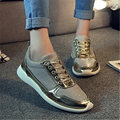 Women shoes 2016 new brand of fashionable women's casual shoes black and white color gold leisure shoes size 36 to 41