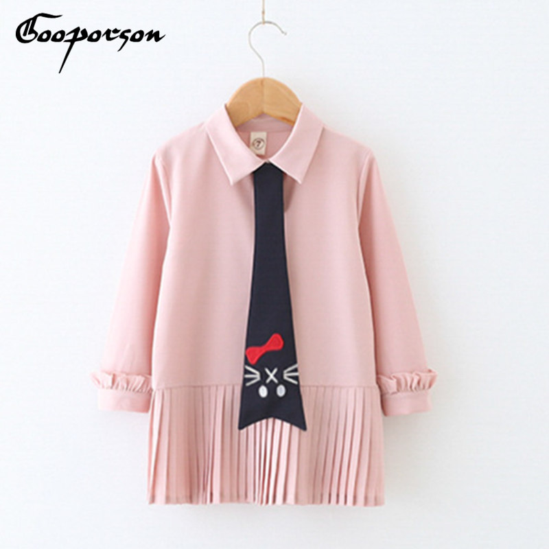 New Girls Dress Pink  Long Sleeve Casual Dress With Cat Tie Cute Children Fashion Children School Clothes Kids Dresses Clothing