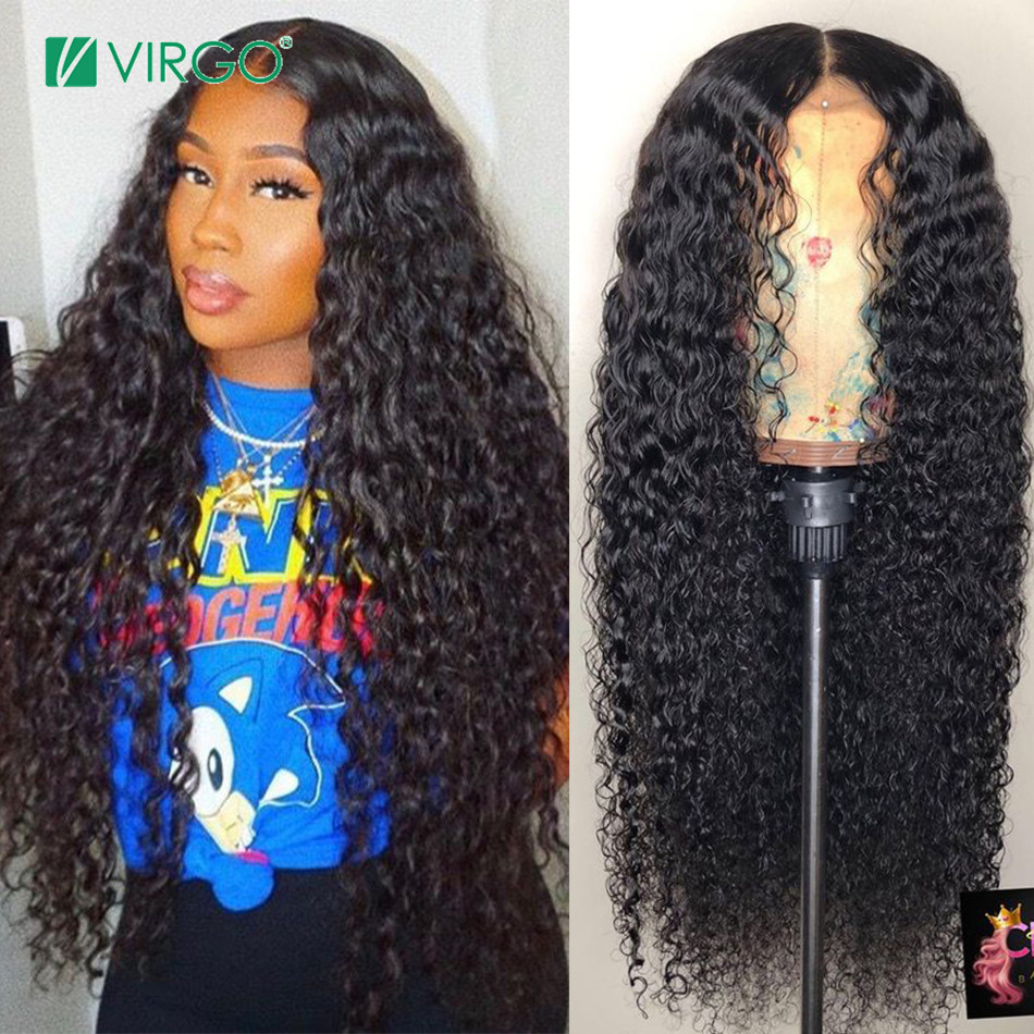 Virgo Peruvian Curly Human Hair Wig Glueless Lace Front Human Hair Wig With Baby Hair Pre Plucked Remy Hair 130 Density(China)