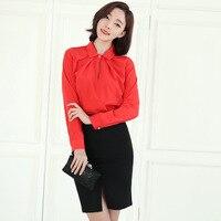 GUGULANG Pearl Button 2017 Spring Long Sleeve Peter Pan Collar OL Women Chiffon Blouse Shirt Red
