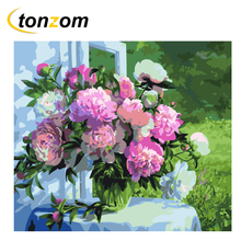 RIHE Garden Flower Diy Painting By Numbers Rose Oil On Canvas Hand Painted Cuadros Decoracion Acrylic Paint Home Art