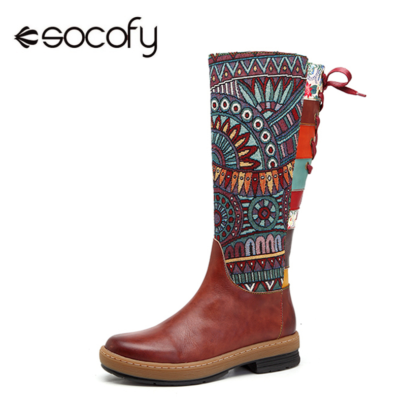 Socofy Vintage Mid-calf Boots Women Shoes Bohemian Retro Genuine Leather Motorcycle Boots Printed Side Zipper Back Lace Up Botas 2017 men watches brand luminous hour day date clock male silver stainless steel luxury quartz watch men casual sport wrist watch