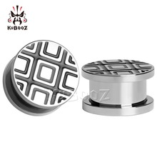 цена 2018 KUBOOZ Stainless steel solid Party line stripes ear plugs piercing tunnels body jewelry expander pair selling gauges онлайн в 2017 году