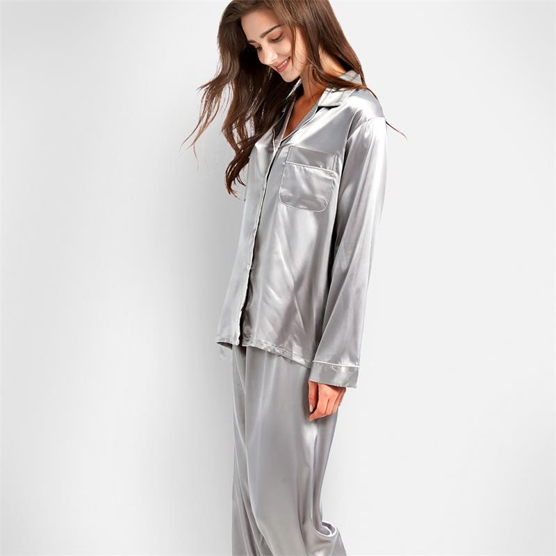 Tony&Candice Women Silk Pajamas 2-Peice Set Satin Silk Pijama Ladies Sleepwear Soft Pyjamas Suit Long Sleeves Nightgown Homewear