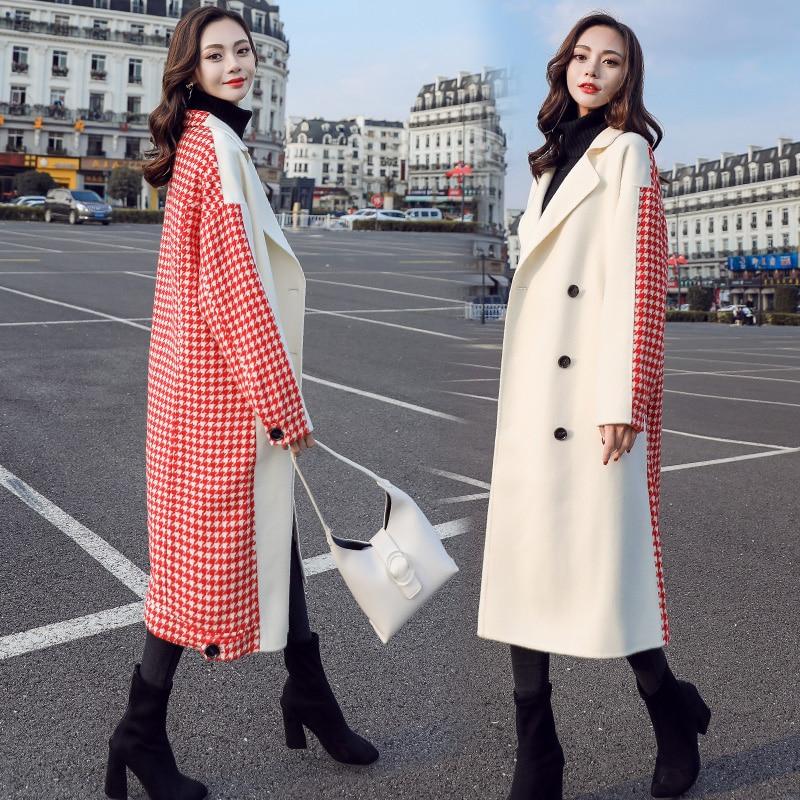 Correspondant Nouvelles Manteau Hiver Laine Long Couleur Lâche Femmes De UdIFw