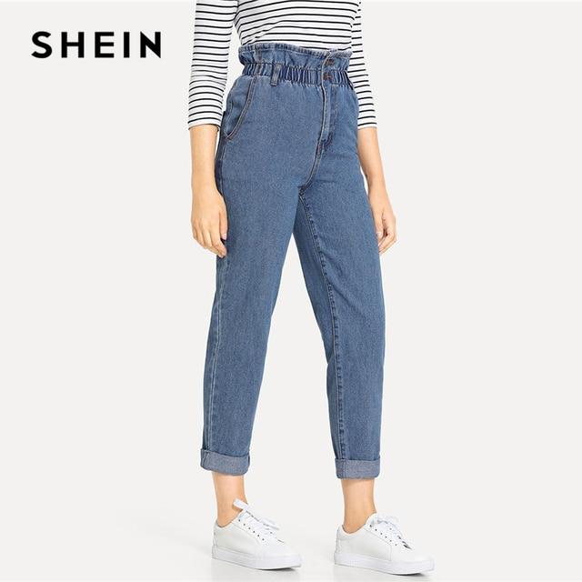 SHEIN Blue Rolled Hem Frill High Waist Jeans 3 Colors 2019 Women Spring Plain Pocket Zipper Elastic Waist Casual Pants Trousers 2