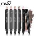 MSQ New Arrival Eyeshadow Cream Pen Double Ended Cosmetics Eye Shadow Pencil Highlighter Shimmer  With Sponge Applicator