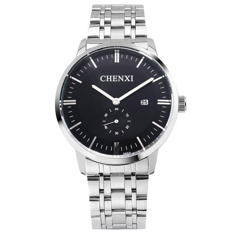2018 New Fashion Waterproof Men Women Dress Watches Stainless Steel Quartz Watch Lovers Vintage Watches CHENXI Wristwatches