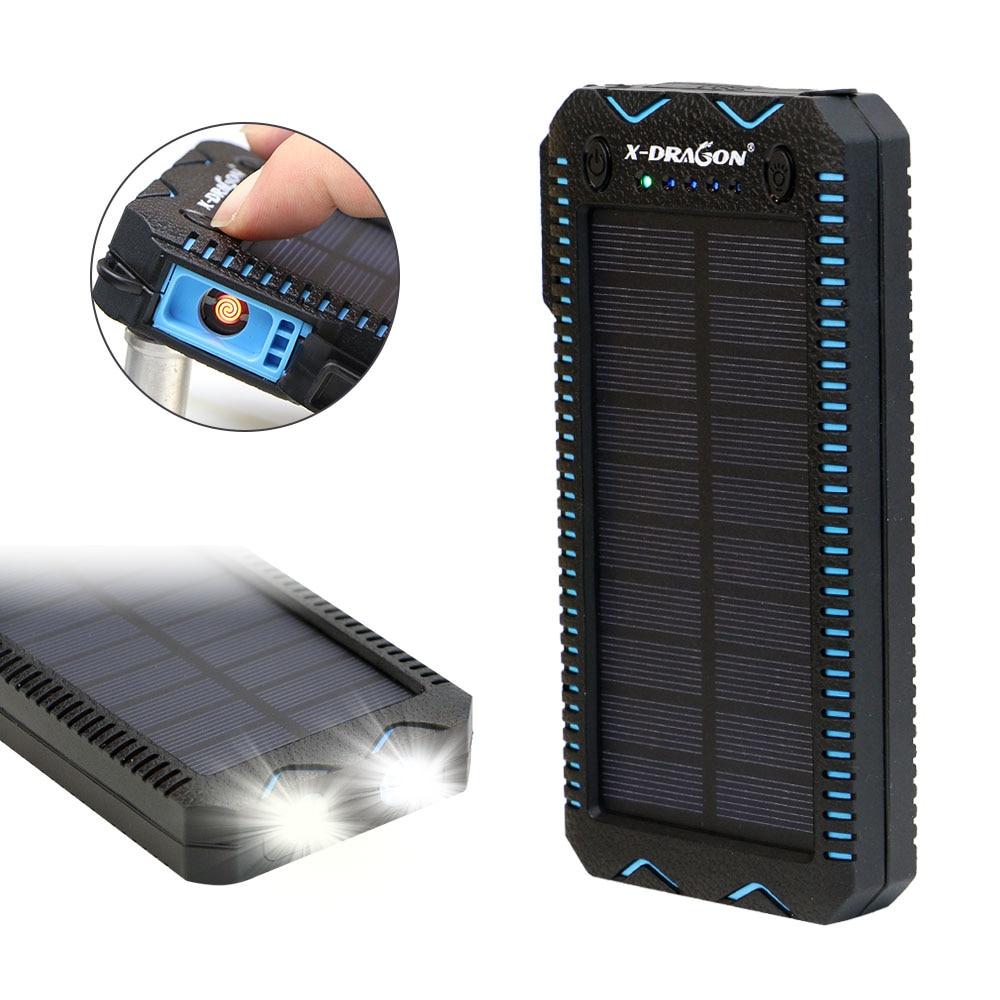 15000 mah Solar Power Bank mit Zigarette Leichter Solar Panel Powered Ladegerät für iPhone Huawei Xiaomi Handys Im Freien