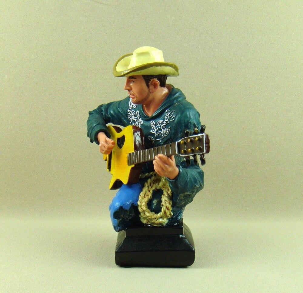Campagne Cowboy guitariste buste abstraite polyrésine guitare joueur Figure Sculpture décor Art et artisanat ornement accessoires - 3