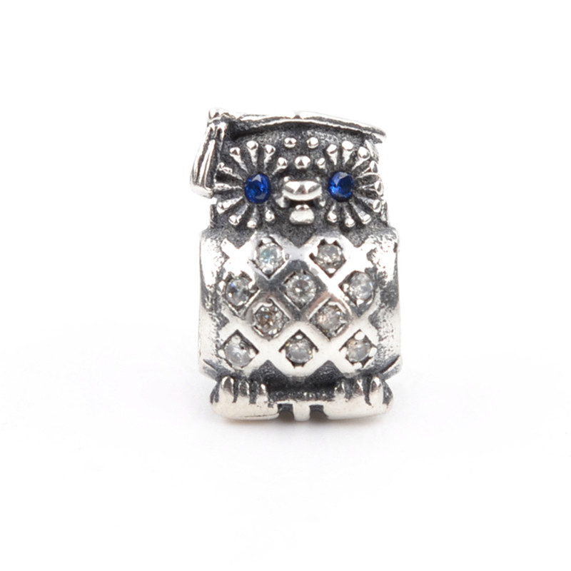 Lovely Owl Bead With Blue CZ 925 Silver Charm Bead Fits Original Pandora Charms Bracelets DIY Brand Fashion Women Jewelry LSH124