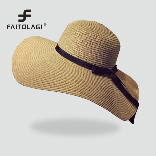 801efb938d9 Wide Brim Women Floppy Straw Hat Female Summer Hats For Girls Ladies  Foldable Sun Hat Panama Beach Hat Travel Casual Caps