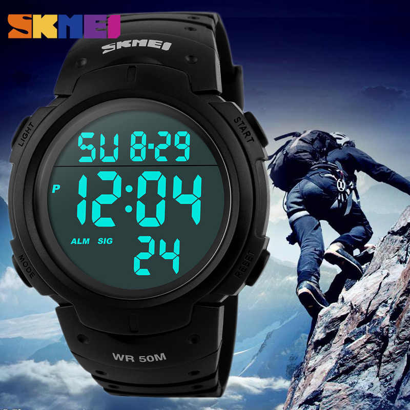 SKMEI Outdoor Sport Watch Men Clock Big Dial Fashion Simple Watches Calendar PU Strap Waterproof Led Digital Watch Reloj Hombre
